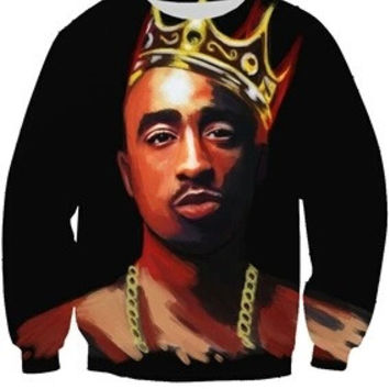 King 2pac Tupac Shakur Painting Black Sweatshirt
