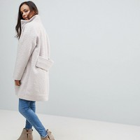 ASOS PETITE Oversized Coat with Funnel Neck at asos.com