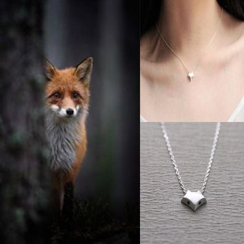 womens 925 silver simple blue eyes fox pendant necklace gift box jewelry 74  number 1