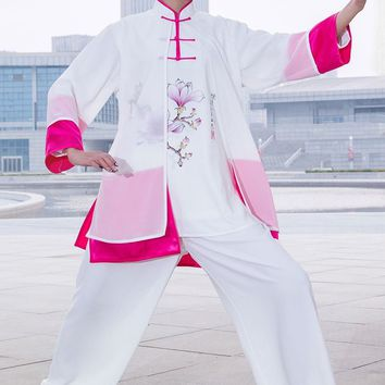 Customize women Pearl cotton hand-painted taiji clothing  tai chi suits kung fu martial arts performance uniforms Summer