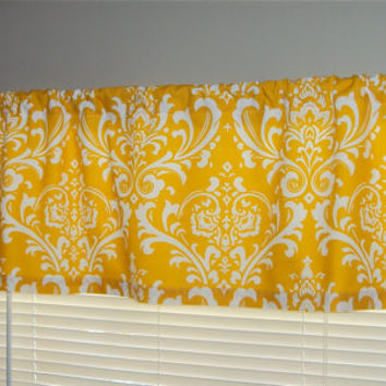 50x14 Yellow Damask Print Cotton Valance Window Treatment