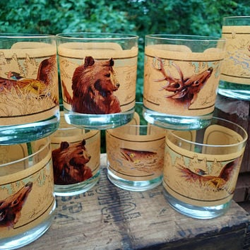 Tom O'Brien Wildlife Low Ball Tumblers, Vintage Barware, Rocks Glass, Bear, Deer, Trout, Pheasant, Rustic Barware