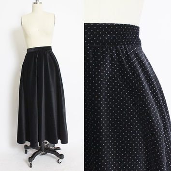 Vintage 1980s Full Skirt - Printed VELVET Polka Dot High Waist 80s - Small S