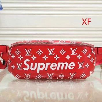 LV x Supreme Women's High-Quality Fashionable Leather Tote Bag Shoulder Bag F Red