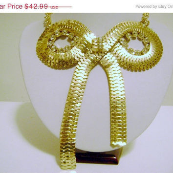 Free Shipping: Gold Bow Necklace, Bow Tie Necklace, Gold Rhinestone Necklace, Gold Bow, Large, Chains, Rhinestones