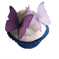 Cupcake and Cake Topper - Edible Paper Butterflies in 24 Purple and Lavender - Paper Cupcake Supply, Cake Supplies