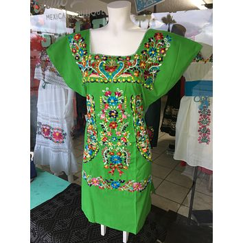 Mexican Embroidered Mini Dress Green