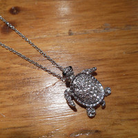 Silver Rhinestone Turtle Necklace | Candy's Cottage