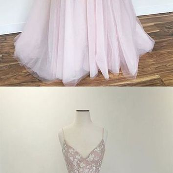 Light pink v neck tulle applique long prom dress, pink evening dress F2365