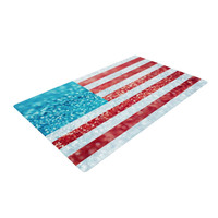 "Beth Engel ""Red White and Glitter"" Flag Woven Area Rug"