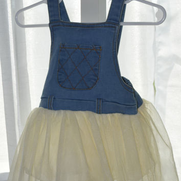 Jean and Ruffle Overall Skirt 9-12 Months