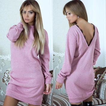 Pink  V lace long-sleeved splicing dress