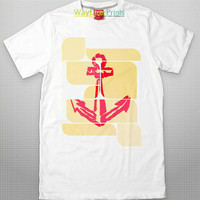 Red Anchor Tee - naval theme nautical sea boat set sail men women children white t shirt digital print organic cottton FREE shipping to USA