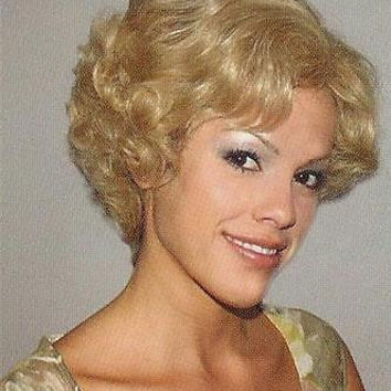 Short Blond Curly Human Hair Wig Black/Brown/Gray/Red