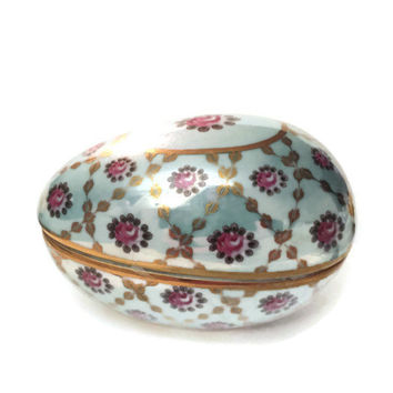 Vintage Porcelain Egg Trinket Box, Floral, Jewelry Box, Candy Box, Easter Egg, Pink Rose, Gold Trim, Teal Background