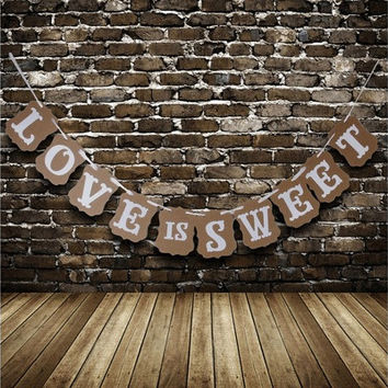 Rustic LOVE IS SWEET Sign Bunting Banner Garland Photo Decoration Cute [7983587143]