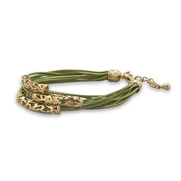 Green Cord Fashion Bracelet with Gold Tone Slides