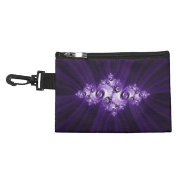 White fractal on purple background accessory bag