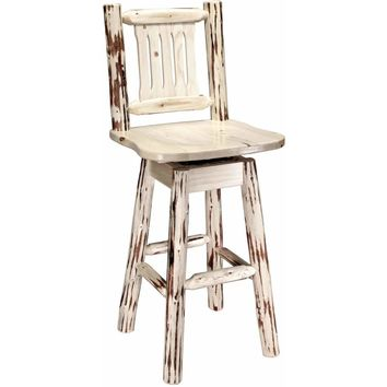 Montana Woodworks - Montana Collection Barstool w/ Back & Swivel, Clear Lacquer Finish