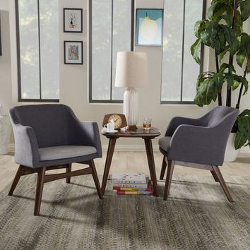 Baxton Studio Vera Mid-Century Modern 3-Piece Lounge Chair and Side Table Set Set of 1
