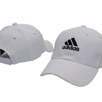 White Adidas Embroidered Unisex Adjustable Cotton Sports Cap Hat
