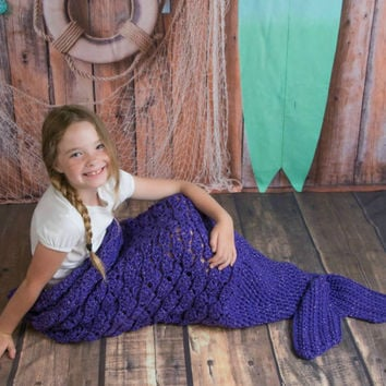 Mermaid Tail Blanket, Adult Child and Toddler Mermaid Throw Blanket