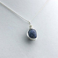 Sodalite Gemstone Necklace- Blue Sodalite Pendant- Sterling Silver Wire Wrapped Necklace- Third Eye Chakra Necklace