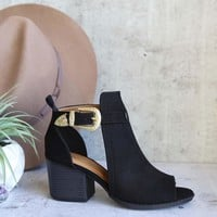 peep toe ankle bootie - black