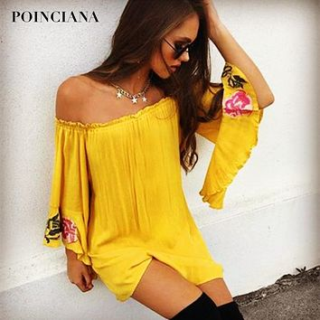 Beach Dress With Embroidery Ethnic Linen Summer Dresses Slash Neck Loose Bohemian Leisure Dress Women's Clothing Yellow 2018