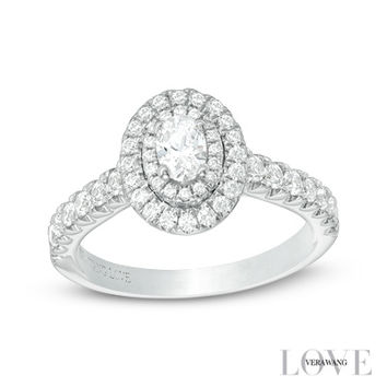 Vera Wang LOVE Collection 3/4 CT. T.W. Oval Diamond Double Frame Engagement Ring in 14K White Gold