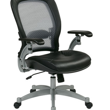 Office Star Professional Light AirGrid® Chair with Leather Seat and Platinum Finish Accents Cantilever Arms and V-Back Support [3680]
