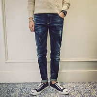New Arrival Men's jeans 501 Pants Ripped Washed Jean for Men Classical Skinny Jeans Men Pants H080