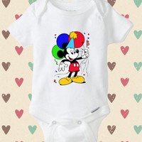 Mickey Mouse birthday - baby shirt Onesuit, birthday baby Onesuit, birthday baby Onesuit, Baby Clothing, Baby cute Onesuit, baby Onesuit