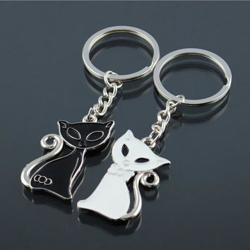 2 pc/pair Silver Plated Couple Animal for Lovers Enamel Keychain 8 Designs