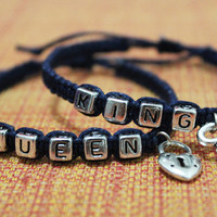King Queen Bracelets, Lock And Key Set, Couples Bracelets,Boyfriend Girlfriend Jewelry,Best Chosen Gift
