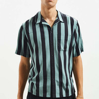 UO Wide Bar Stripe Rayon Short Sleeve Button-Down Shirt | Urban Outfitters
