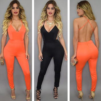 Sexy Fashion Gallus Backless Bodysuit Solid Elegant Sheath Rompers Women Jumpsuit