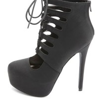 Cut-Out Lace-Up Platform Heels by Charlotte Russe - Black