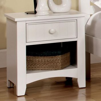 Omnus Wood Night Stand, White Finish