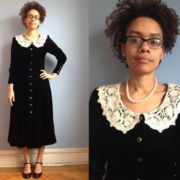 Vintage 1980's long black velvet dress with lace collar, buttons up front