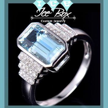 Aquamarine Engagement Ring 2.8ct Emerald Cut in a 14k White Gold Art Deco Bezel Halo Setting