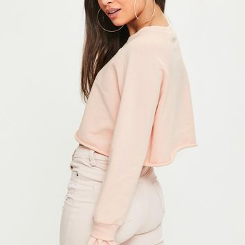 Missguided - Petite Pink Double Frill Cuff Cropped Sweatshirt