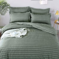 Allover Green Striped Print Duvet Cover
