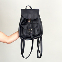 90s Black Leather MINI BACKPACK | Vintage 1990s Coach-style Bag | Made in USA