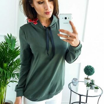 Winter Green Women Casual Decal With Hooded Sweater