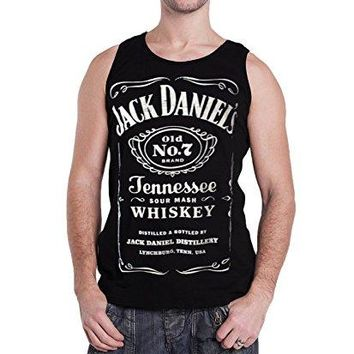 Jack Daniels T Shirt Classic Logo Official Mens Black Sleeveless