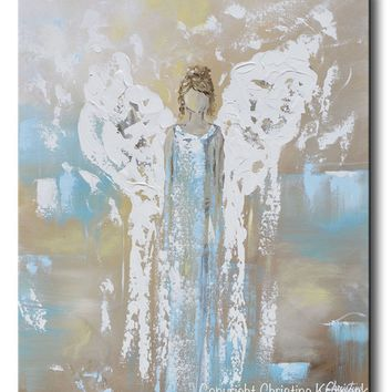 GICLEE PRINT Angel Painting Abstract Guardian Angel Wings Turquoise Blue White Home Decor Canvas Wall Art