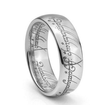 7mm Plain Elvish Script Tungsten Carbide Men & Women Laser-etched Wedding Band Ring (Platinum)