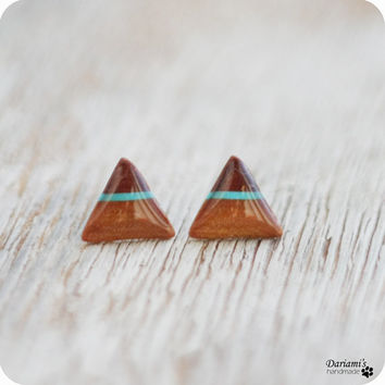 Post earrings - brownl triangle stud earrings - handmade jewelry