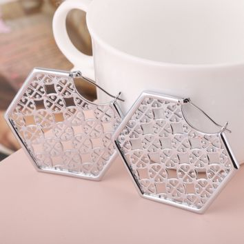 Tory Burch New fashion personality hollow polygon earring accessories Silver